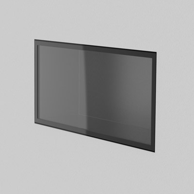 3D illustrated view of wall-mount showcase