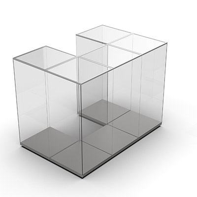 3D illustrated view of multi-bay demountable showcase